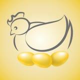 Chicken with golden eggs Stock Photos