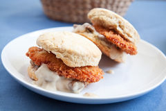 Chicken and gravy biscuit Royalty Free Stock Images