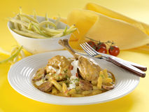 Chicken with green beans Stock Images