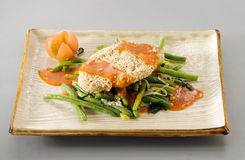 Chicken with green beans Royalty Free Stock Images