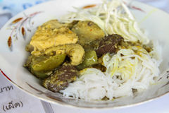Chicken green curry in blue  west of thailand Royalty Free Stock Photos