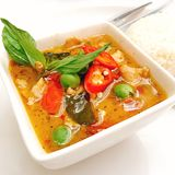 Chicken Green Curry. Chicken in Green Curry decorate with red chilli and Basil Leaf and eggplant Stock Image