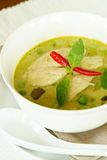 Chicken Green Curry, Thai Food. Green Curry soup with chicken, a Thai dish Stock Image