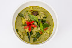 Chicken green curry, Thai food. Green curry creamy coconut milk with chicken , Popular Thai food Royalty Free Stock Photography