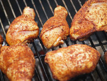 Chicken on the Grill. Chicken on the BBQ Grill Stock Image