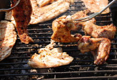 Chicken on the grill royalty free stock photography
