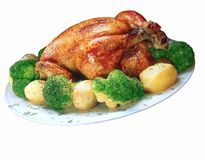 Chicken grill. Chicken grill with potatoes and broccoli Stock Photography