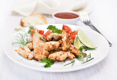 Chicken grill meat with vegetables Royalty Free Stock Image