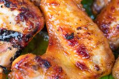 Chicken grill over the banana leaf Stock Images