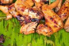 Chicken grill over the banana leaf Royalty Free Stock Image