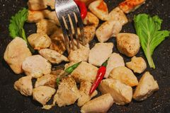 Chicken grill and spicy sauce ,thailand street food royalty free stock photos