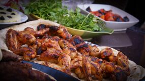 Chicken Grill on White Tray Near Green Leaf Vegetable Food stock photography