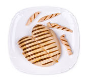 Chicken grilled fillet with slices on plate. Royalty Free Stock Photo