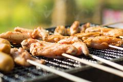 Chicken grilled in a grille , seasoned with seasoning. Use as a food concept.  Royalty Free Stock Photo