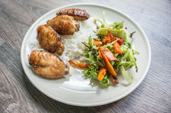 Chicken grilled with salad Royalty Free Stock Photography