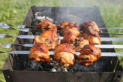 Chicken grilled on skewers Stock Photos