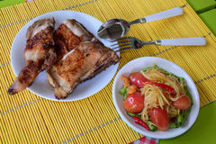 Chicken grilled and spicy salad Royalty Free Stock Photography