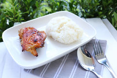 Chicken grilled with sticky rice Stock Image