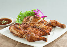 Chicken grilled Thai food style isolated  Royalty Free Stock Photos