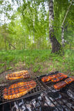 Chicken grilling bbq Royalty Free Stock Photos