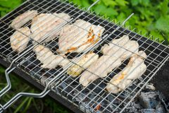 Chicken grilling on the brazier Royalty Free Stock Photo
