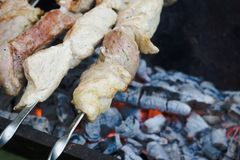 Chicken grilling on the brazier Royalty Free Stock Photos