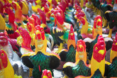 Chicken group statue for fulfill one's vow Royalty Free Stock Image