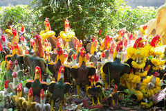 Chicken group statue for fulfill one's vow Royalty Free Stock Images