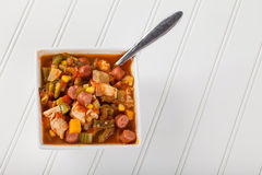 Chicken Gumbo Soup full top view Stock Photography
