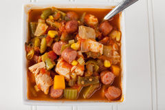 Chicken Gumbo Soup on white Stock Photo