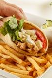 Chicken gyro. Sandwich in hand stock photos