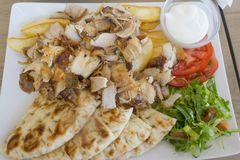 Chicken gyros portion  with vegetables  Royalty Free Stock Photo