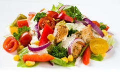 Chicken gyros salad Royalty Free Stock Photos