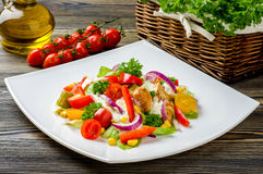 Chicken gyros salad. On white plate Stock Photo