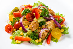 Chicken gyros salad. On white plate Stock Photos