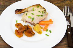 Chicken Ham, Baked with Dried Apricots, Apples and Carrots Stock Photo