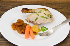Chicken Ham, Baked with Dried Apricots, Apples and Carrots Stock Images