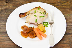 Chicken Ham, Baked with Dried Apricots, Apples and Carrots Stock Image
