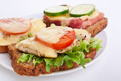 Chicken and ham sandwiches Royalty Free Stock Image