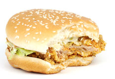 Chicken Hamburger. With bites off Royalty Free Stock Photography