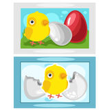 Chicken hatching from eggs, picture on wall Stock Photos