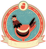 Chicken head label on old paper texture. Vintage style vector illustration