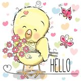 Chicken with hearts and flower. Greeting card cute Chicken with flowers on the hearts background Stock Photography