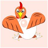 Chicken, hen or with big egg. Icon, logo or sign for package design of eco organic food of eggs or poultry from farm. Cartoon royalty free stock photography