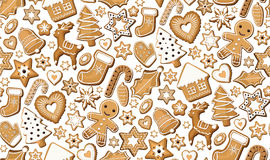 Gingerbread ginger cookie cookies bisquit sweets different set setting Christmas xmas  holiday seamless pattern. Vector beautiful  Stock Image