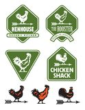 Chicken, hen or rooster logos and badges Royalty Free Stock Image