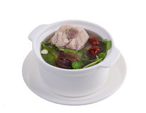 Chicken and herb soup, Chinese food style. Royalty Free Stock Image