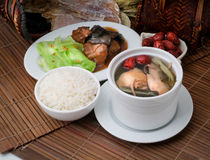 Chicken herb soup and rice Royalty Free Stock Photography