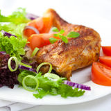 Chicken with herbs and vegetable salad Royalty Free Stock Image