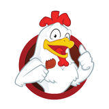 Chicken holding a fried chicken. Clipart picture of a chicken cartoon character holding a fried chicken Stock Photography